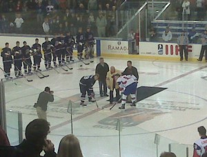 The American captain refrained from mocking the Norwegian captain during the ceremonial puck drop